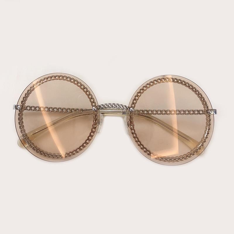 Fashion Luxury Brand Design Round Sunglasses with Chain 2019 Ladies Rimless Sunglasses UV400 Protection Oculos De