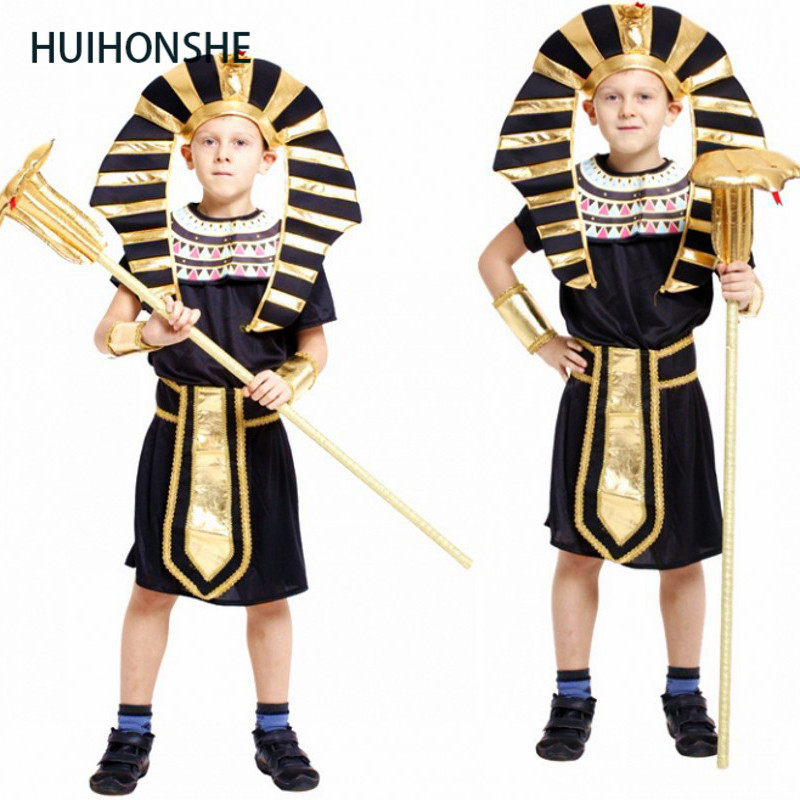 HUIHONSHE Kids Egypt Pharaoh cosplay costume Halloween Full Set Cosplay Party Dress for Children boys Prince costume high qualit