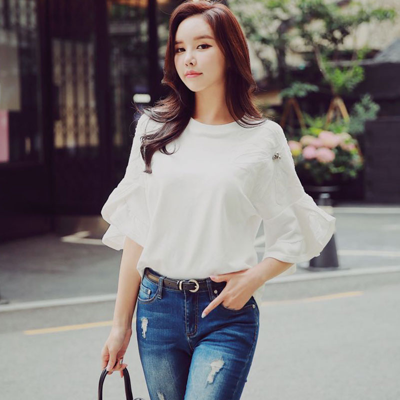 Dabuwawa Spring New White Ruffles Flower Sweatshirts For Girls Women Office Lady 2019 Flare Sleeve Loose