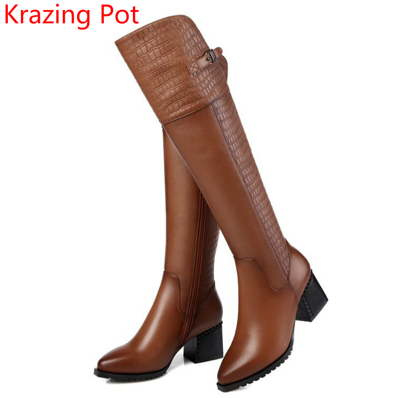 2018 Fashion Genuine Leather Pointed Toe High Heels Classics Thigh High Boots Metal Buckle Keep Warm Over-the-knee Boots L30 цены онлайн