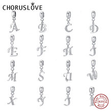 Choruslove Letter A-Z Charms 925 Sterling Silver CZ 26 Alphabet Bead fit Pandora Charms Bracelet Women DIY Jewelry SS2657(China)
