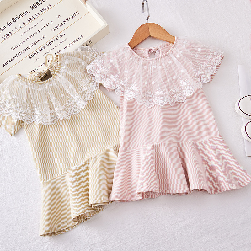 2019 New Baby Girls Lace Collar Short Sleeve Dress Striped Sweet Dresses Foreign Children Clothes