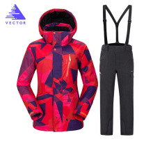 цена на Snowboarding Suits Women Winter Windproof Waterproof Female Ski Jacket And Snow Pants Sets Super Warm Brands Women Ski Suit
