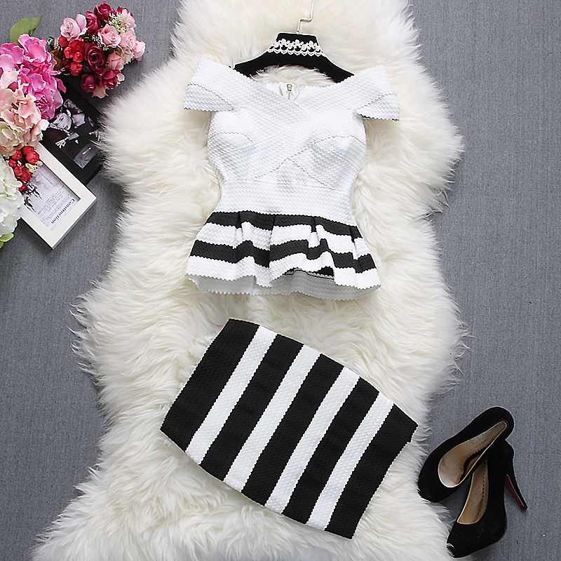 Alpha customization Women Fashion Tops+Skirt Outfits Summer Slash Neck Short Sleeve Striped Ruffles Dress Top and Skirts Sets