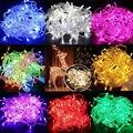 2016 Ano Novo Guirlanda De Natal LEVOU colorido lâmpada seqüência de luz à prova d' água 10 m 100 LEDS 220 V com conector UE 8 modos de luz