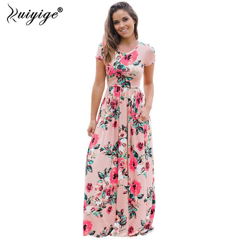 Summer Women Floral Print Short Sleeve Empire Waist Boho Dresses Femme Vestidos Ladies Evening Party Long