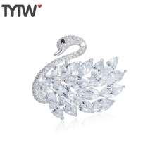 TYTW New Alloy Swan Brooch Women Elegant Wedding Party Meeting Brooch Girl Gift Brooches