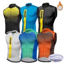 Зимний термальный флисовый жилет без рукавов для велоспорта Mtb велосипед велосипедный согреться pro командный жилет мужская одежда для велоспорта ropa ciclismo