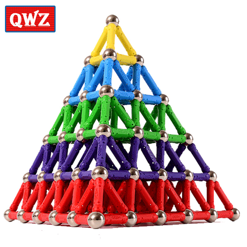 QWZ Magnet Bars Metal Balls Kids Magnetic Building Blocks Toys Construction Toy Accessories DIY Designer Educational Funny Toys