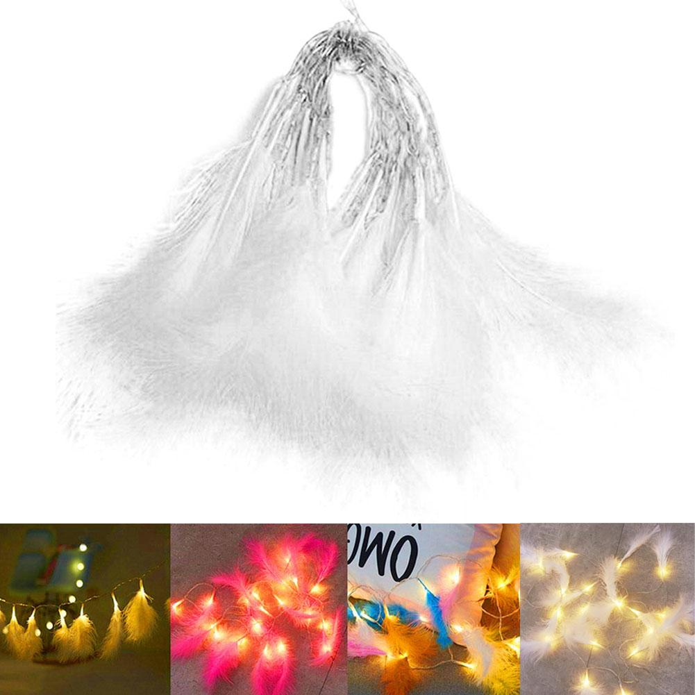 Battery Powered Fairy Feather Shape LED Night String Light Party Home Decor Garden Garland Decorations