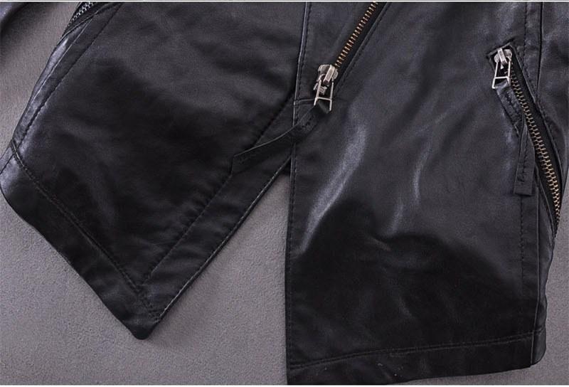 De Incliné Noir Manteau En Survêtement Slim Fashion Peau Zipper Moto Femelle Mouton Veste Lady Black Fit Femmes 2015 Automne Cuir 76yfbg