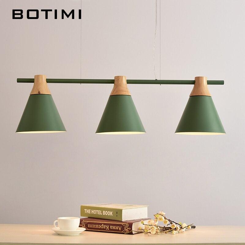 Nordic Nouvelle Conception Pendentif Lumières En Bois Suspendus Lumière Pour Table À Manger Bar Coloré Lampe Intérieure LED Luminaires