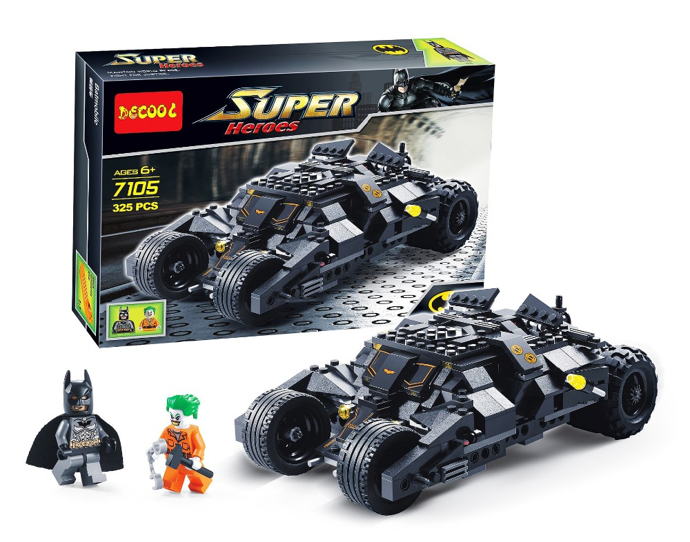 7105 Batman The Tumbler Batmobile Batwing Joker Super Heroes Decool Building Block Bricks Set  Compatible With hot wheels batman 3 pack cars includes bone shaker special the joker edition the dark knight batmobile and ford fusion
