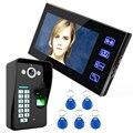 """7 """"Com Fio de Telefone Video Da Porta Intercom System 1 Monitor de Reconhecimento de Impressões Digitais + 1 Kit IR Câmera de Visão Noturna + 5 pcs RFID Keyfobs"""
