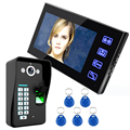 "7"" Wired Fingerprint Recognition Video Door Phone Intercom System 1 Monitor+1 Kit IR Night Vision Camera +5pcs RFID Keyfobs"