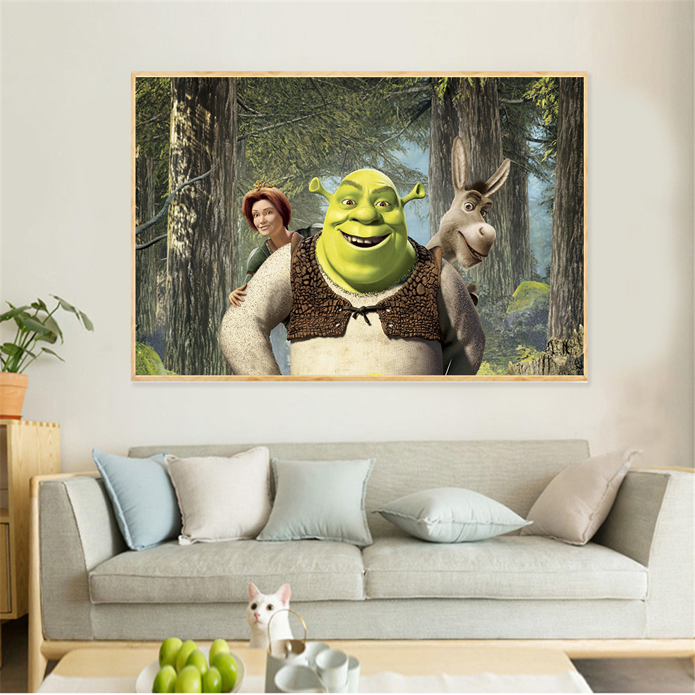 Vintage Cartoon Canvas Painting Anime Shrek Poster Cafe Creative Wallpaper Interior Decoration Wall Pictures for Living Room interior design