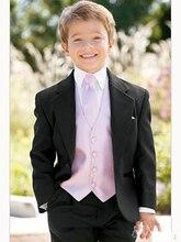 boy suits one Button Boy Tuxedos Notched Lapel Children Suit Kid Wedding/Prom Suits three piece suit (jacket+vest+pants+tie)