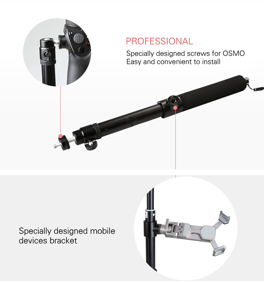 DJI OSMO Extension Pole Rod Scalable Extension Stick for DJI Osmo &DJI Osmo &DJI + OSMO Mobile Handheld Gimbal Accessories 11