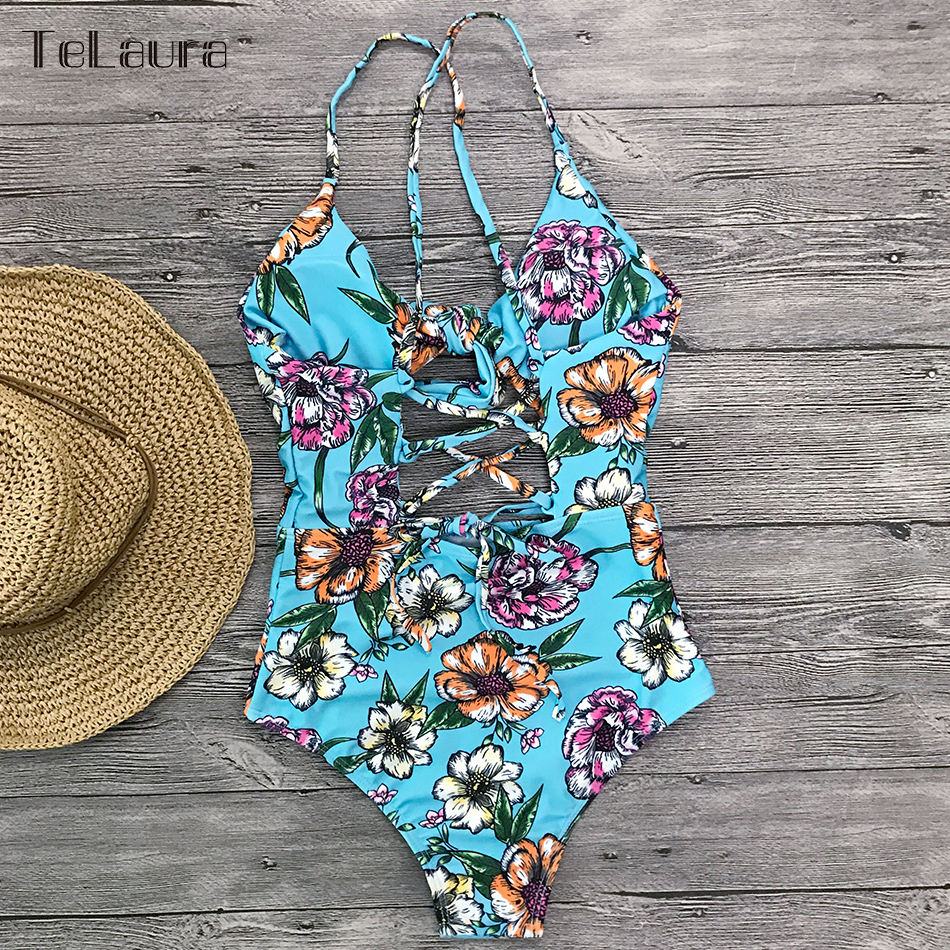 2019 Sexy One Piece Swimsuit Women Swimwear Print Bodysuit Crochet Bandage Cut Out Beach Wear Bathing Suit Monokini Swimsuit XL