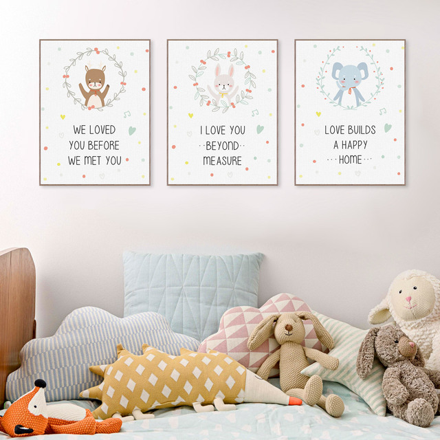 Love Quotes Kawaii Cute Animal Bear Elephant Canvas Big Art Print Poster No  Frame Wall Picture