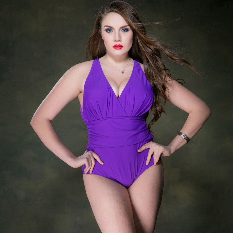 M&M One Piece Swimsuit Plus Size Swimwear Women 2017 Summer Beach Wear Push Up Bathing Suit Swim Retro High Waist Swimsuit