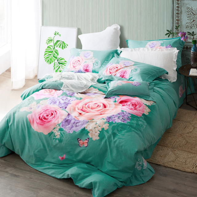Pink Rose Print Turquoise Green Bedding Set Queen King Size Duvet Covers Bed Sheets 100