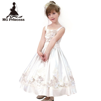 Free shipping Formal Children Dress For 6 Years Flower Girl Dresses Embroidery Satin White First Holy Communion Gowns Plus Size