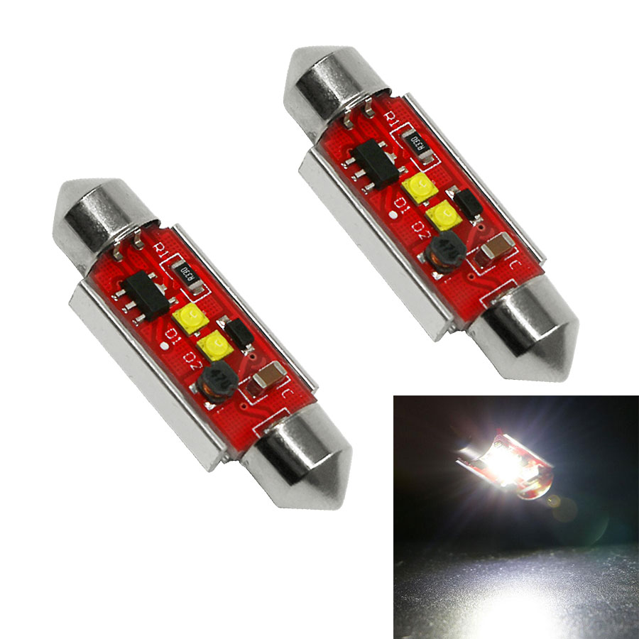 2PCS/Lot Canbus 10W Error Free Dome C5W 5W * 2 36mm 39mm 41mm 6000K Led Festoon Lamps Auto Car License Plate Lamps No Error Free 2pcs festoon led 36mm 39mm 41mm canbus auto led lamp 12v festoon dome light led car dome reading lights c5w led canbus 36mm 39mm