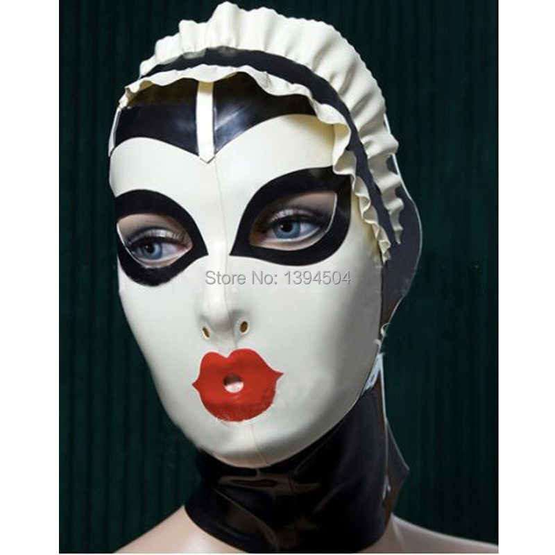 Nya Sexiga Kvinnor Handgjorda Skräddarsydda Latex Cosplay Maid Hoods Spliced ​​Color Hot Fetish Mask Heroine kvinnlig mask Huvudbonader Zentai