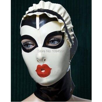 New Sexy women Handmade Customized Latex Cosplay maid Hoods spliced color Hot Fetish Mask Heroine female mask Headgear Zentai