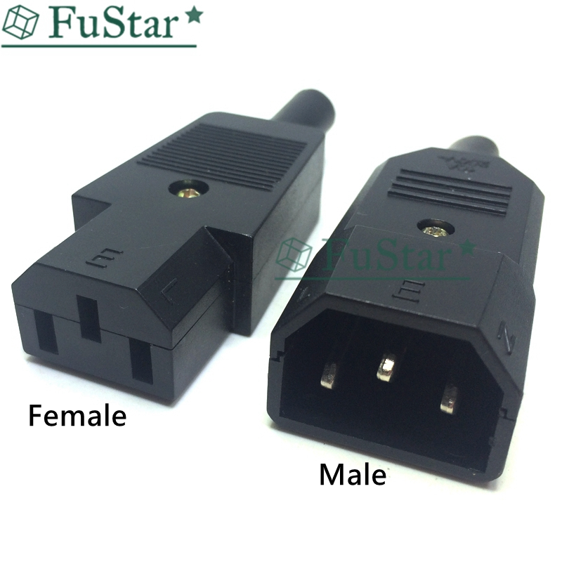<font><b>10A</b></font> US AC <font><b>250V</b></font> <font><b>10A</b></font> <font><b>3pin</b></font> IEC C13 Power Supply Coupler Plug Socket Adapter Male plug & Female jack Rewirable cable Wire Connector image