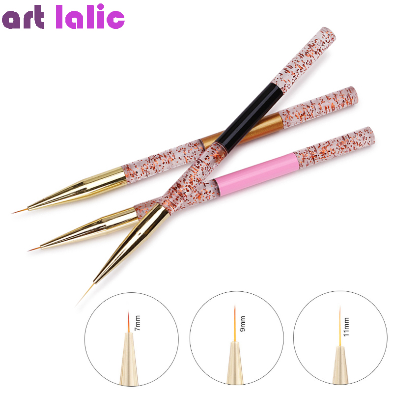 7/9/11mm Red Spot Handle Nail Art Liner Brush French Lines Stripes Painting Drawing Pen Manicure Tool For Nails
