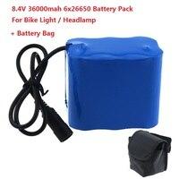Bloco recarregável da bateria da capacidade alta 8.4 v 36000 mah 6x26650 para a luz conduzida da bicicleta com saco mágico para luzes conduzidas da bicicleta faróis bag croco bike bag travel bag spiderman -