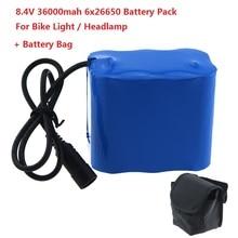 Yüksək tutumlu 8.4V 36000mAh 6 x 26650 Led velosiped işıqları faraları üçün sehirli çanta ilə LED Velosiped İşıq üçün təkrar doldurulan batareya paketi