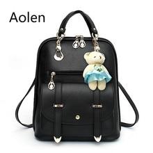 Aolen Bag fashion Woman Backpack Women Canvas Children School Bags Black Leather For Back Korean Backpacks