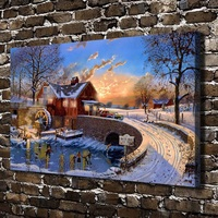 10644 Tuyết Thế Giới Trượt Băng Cầu Nhà Phong Cảnh, HD Canvas In trang trí Nội Thất Art tranh Phòng Khách Phòng Ngủ Tường hình ảnh