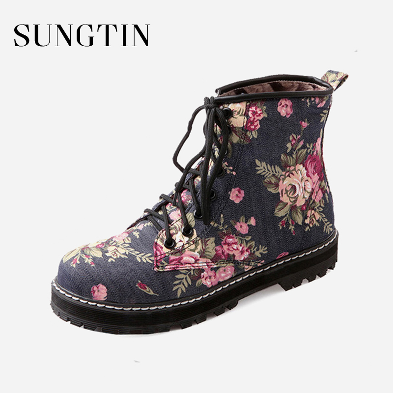 Sungtin New Floral Print Women Ankle Boots Ladies Short Plush Casual Lace-up Plus Size Flat Short Boots Woman Western Booties plus size open back floral lace up tank top