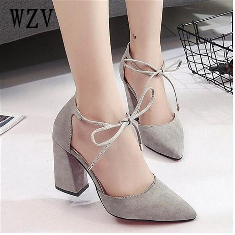 2018 High Heels Woman Sandals Summer Autumn Flock Shoes Ladies Pumps Sexy Coarse with high Footwear Lace-Up Wedding Women Shoes hee grand cross tied women sandals summer sexy square high heels flock wedding shoes woman elegant pumps ladies 3 colors xwz2049