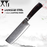 XYj Nakiri Damascus Knife 67 Layers VG10 Damascus Steel 7 inch Kitchen Knives Ergonomic Grip Color Wood Handle Chopping Knife