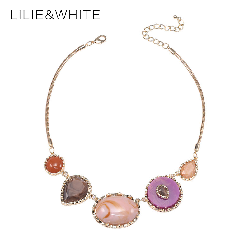 LILIE&WHIT 2018 Brand Luxury Big Gem Crystal Collar Choker Necklace Fashion Mix Colour Maxi Statement Necklace Women Jewelry HL
