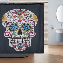 180x180cm Shower Curtain Skull Pattern Size Bathroom Polyester Fabric Water Resistant With 12 C Ring Hook