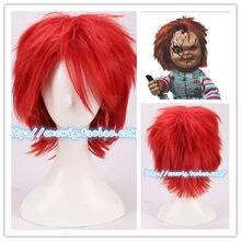 Horro-peluca corta roja de la novia de Chucky, disfraces de cabello rojo