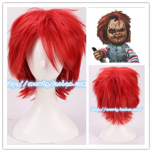 Horro Movie Bride of Chucky Red Short Wig Chucky Role Play Red Hair costumes(China)
