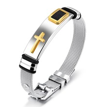 Fashion Stainless Steel Watch band Strap Bracelet Men Watchband Wristband Pulseras Black Or Gold Color Bangle Cross Jewelry