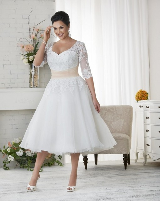 Tea Length Plus Size Wedding Dress With Half Sleeves Appliques Lace Women  Bridal Gown Women Plus Size Wedding Dresses ccfa3538b