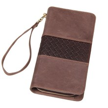 Free Ship Excellent Genuine Leather Bifold Mens Brown Wallet Clutch Bag Checkbook # 8070R