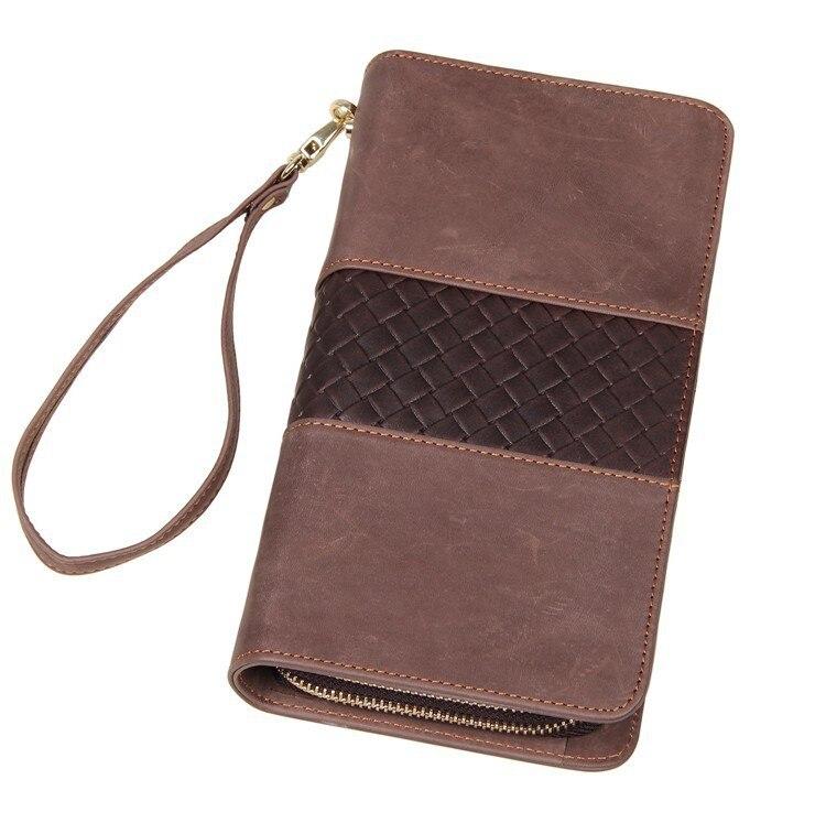 Excellente pochette portefeuille marron Bifold en cuir véritable pour hommes, chéquier 8070R