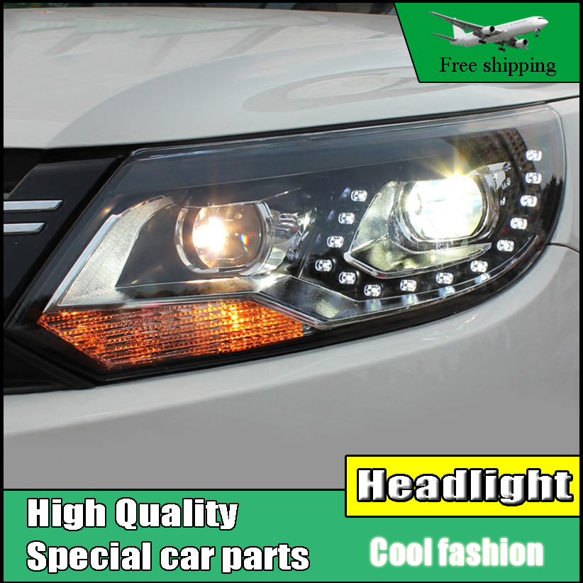 Car Style Head Lamp Case For VW Tiguan headlights 2013 2014 2015 LED Headlight DRL HID KIT Bi-Xenon Lens low beam Accessories car styling head lamp case for skoda superb 2009 2013 headlights led headlight drl lens double beam bi xenon hid accessories