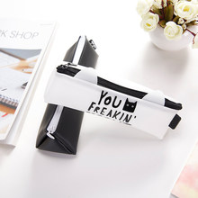 Cartoon White Black Cat Ear Jelly Rubber Zipper Pencil Case Pen Box Pencil Bag Student Storage Stationery School Supply Gift(China)