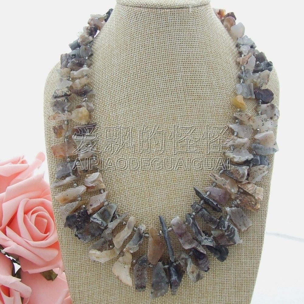 N051105 20''-21'' 2 Strands Top-Drilled Stone Druzy Necklace